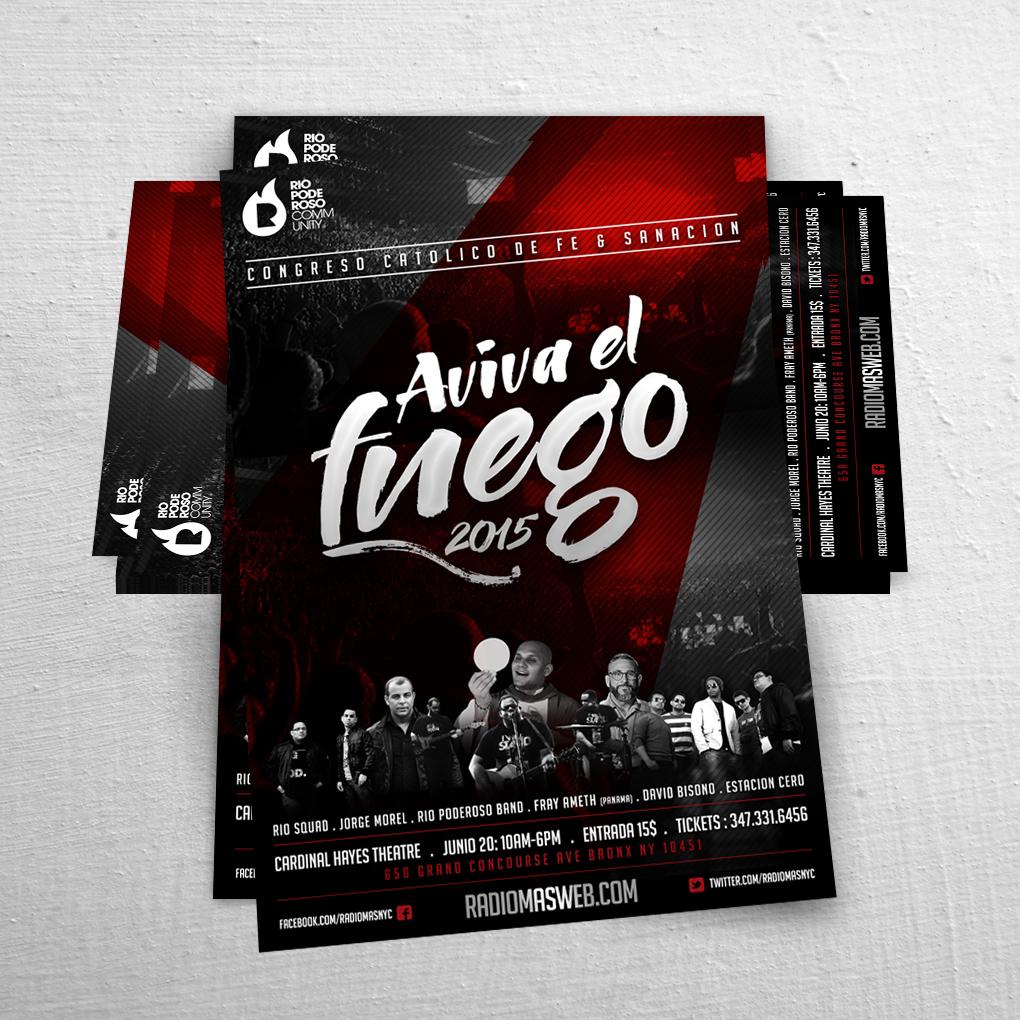 Flyer / Poster Design Aviva el Fuego | Joan Sanchez / Rio Poderoso