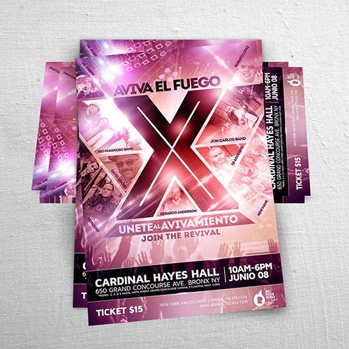 Diseño de Flyer / Afiche Cristiano Aviva el Fuego X | Joan Sanchez / Rio Poderoso