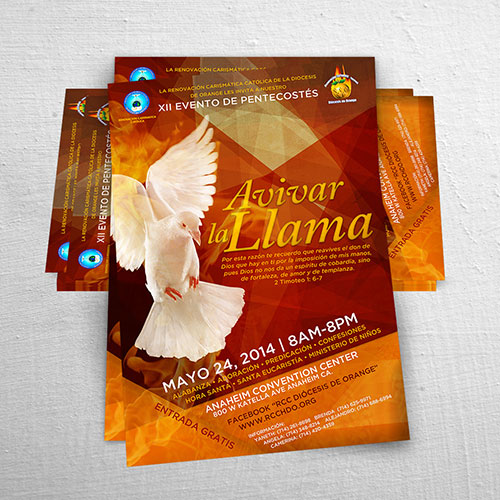 Catholic Christian Poster Design Evento de Pentecostes Avivar la Llama | RCC Orange