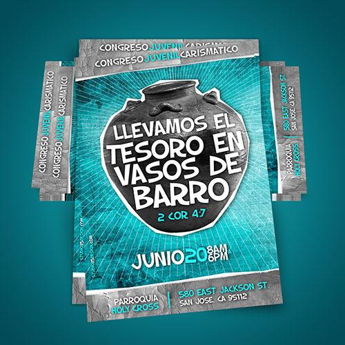 Diseño de Flyer / Afiche Catolico Congreso Juvenil Carismatico | RCC San Jose