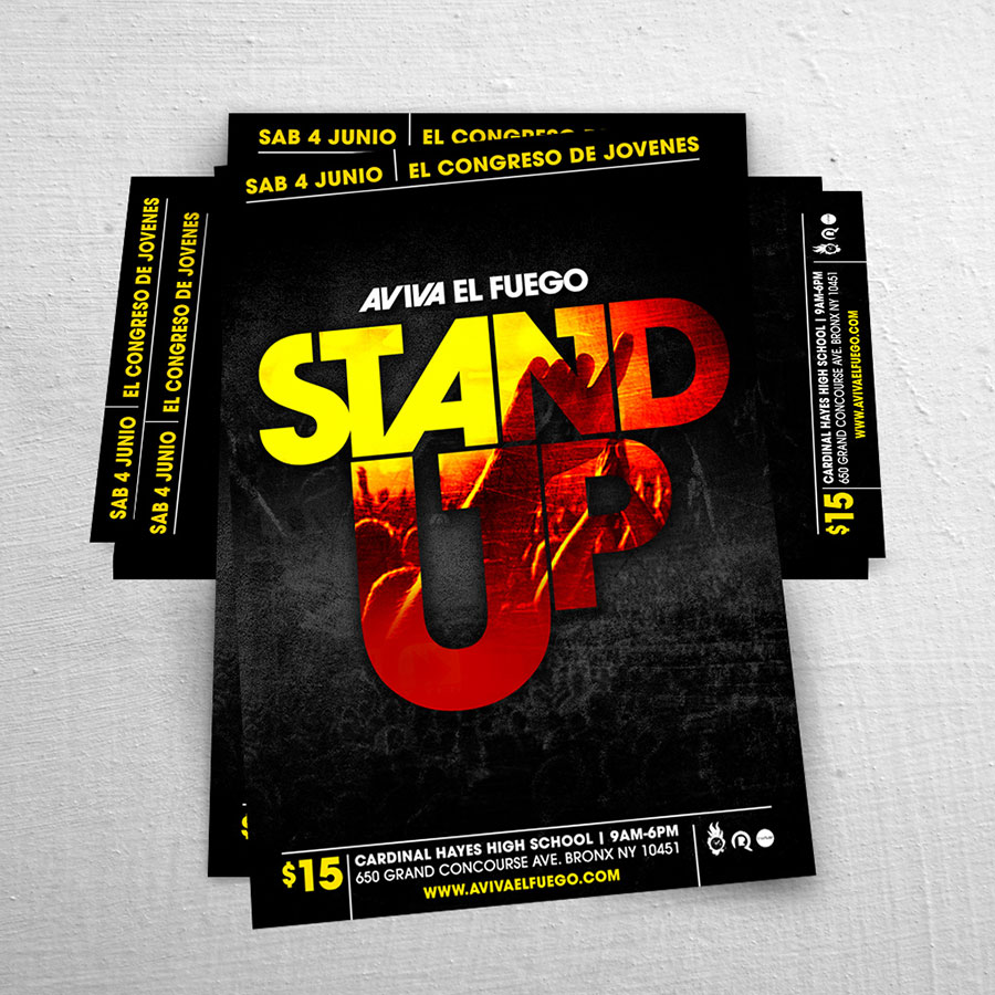 Diseño de Flyer / Afiche Catolico Aviva el Fuego Stand Up | Joan Sanchez / Rio Poderoso