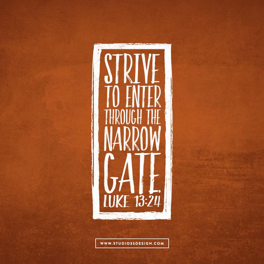 Strive to enter through the narrow gate.