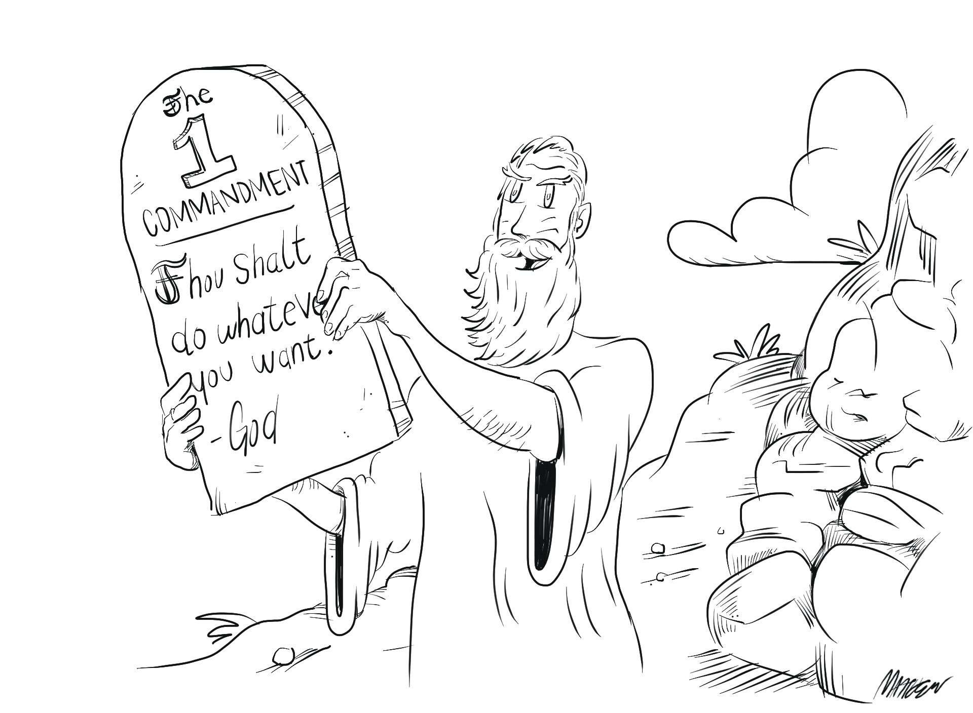 illustration of moses holding up an ammendment to the first commandment on an original tablet.