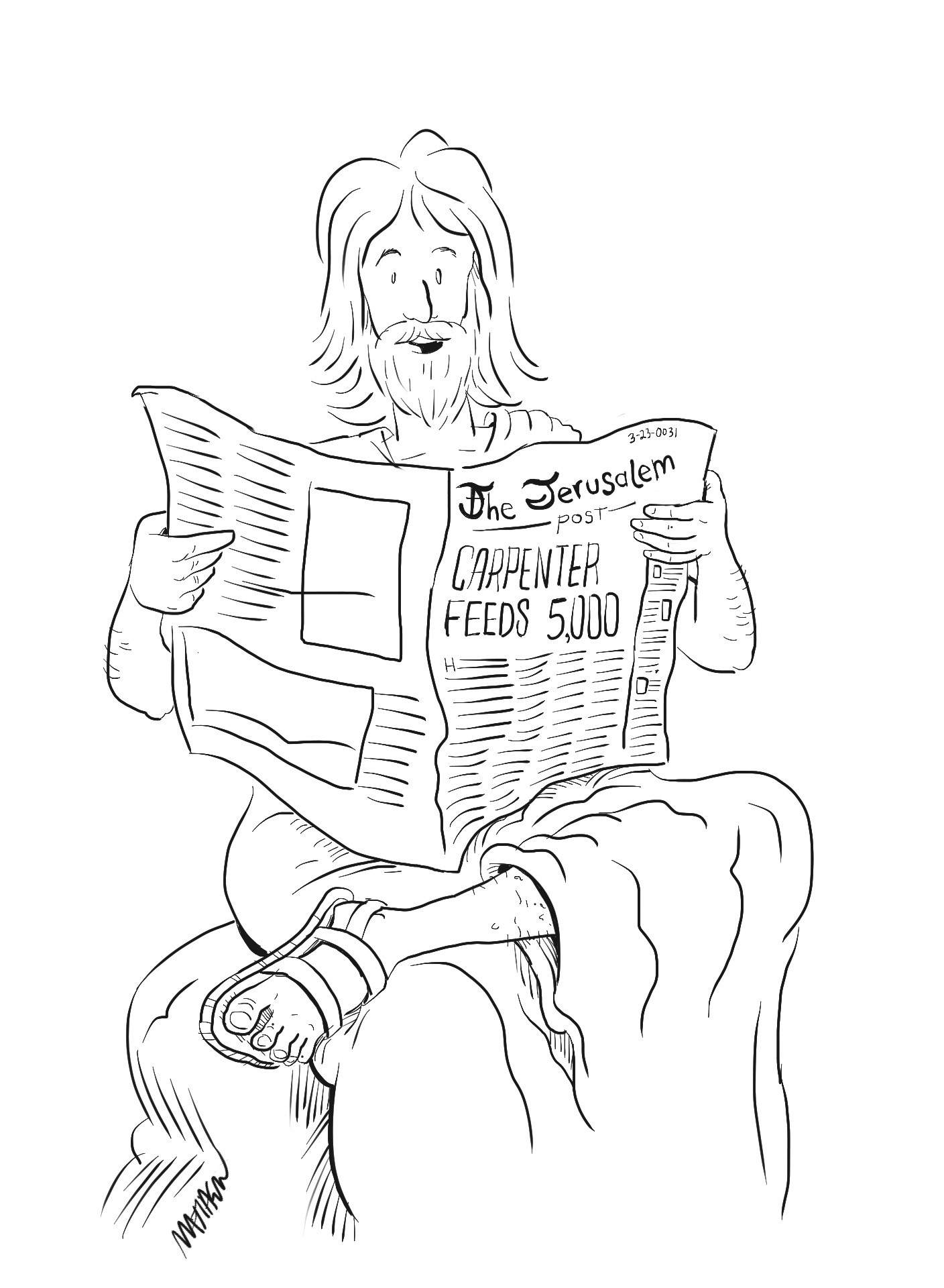 Jesus reading the newspaper in Jerusalem post, article about Jesus feeding 5000 people