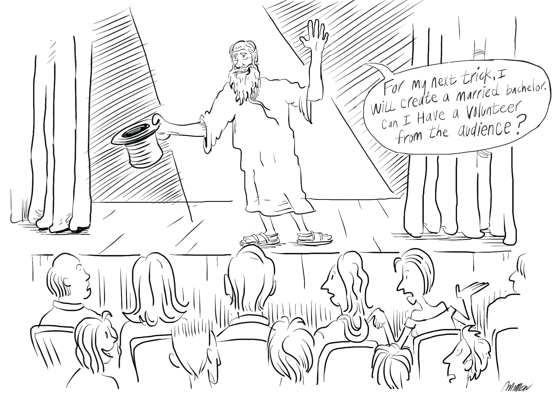 bad magician on stage asking for a volunteer