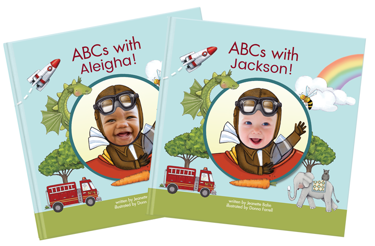 Two custom kids books - ABCs with Me, each reflecting a different child's name and face
