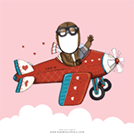Example of what a personalized Valentine's Day e-card looks like with an illustration of a pilot in a plane against a light pink background