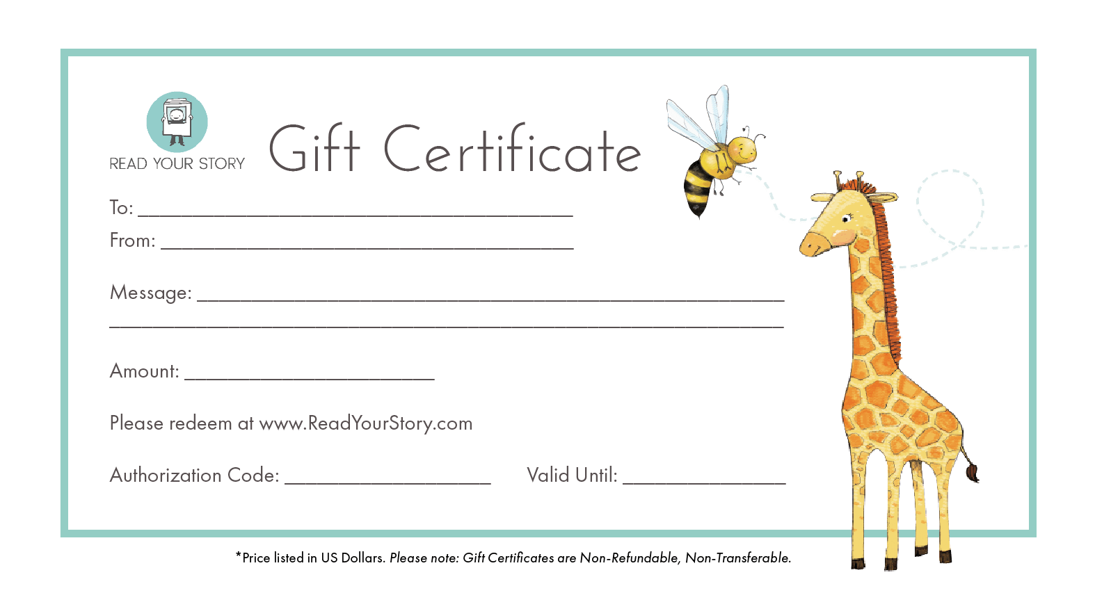 gift certificate for personalized books read your story