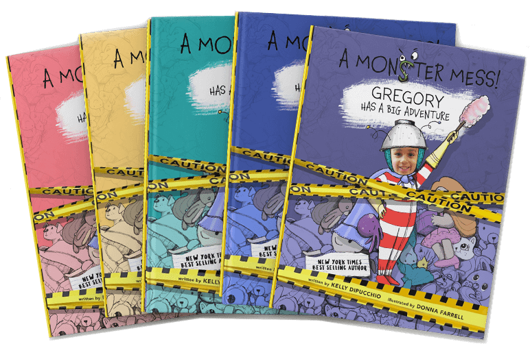 Five personalized book covers of A Monster Mess shown in purple, blue, green, yellow and pink, with each cover featuring a different child's name and face