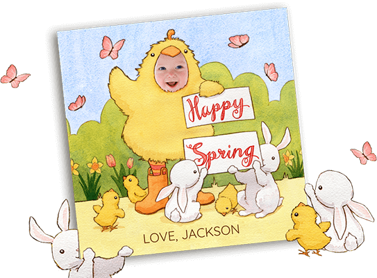Personalized Spring eCard featuring child dressed up as a chick and holding a sign that says Happy Spring.