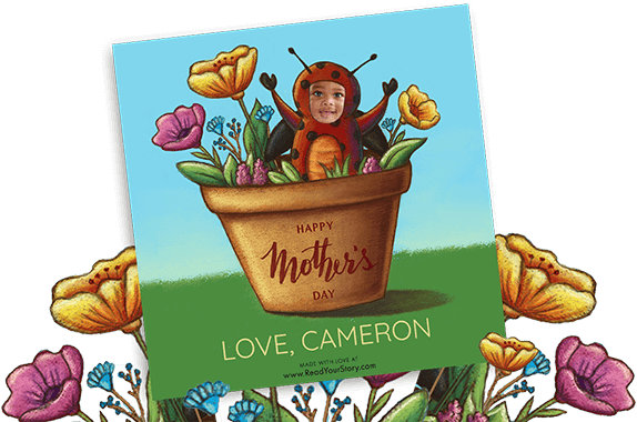 "Personalized Mother's Day eCard featuring child dressed up as a ladybug in a flower pot. Pot has ""Happy Mother's Day"" written on it"