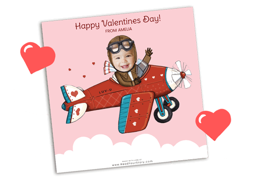 Personalized Valentine's Day eCard featuring child dressed up as a pilot flying a plane with hearts on it.