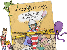 Five personalized book covers of A Monster Mess shown in yellow, pink and blue, with each cover featuring a different child's name and face.