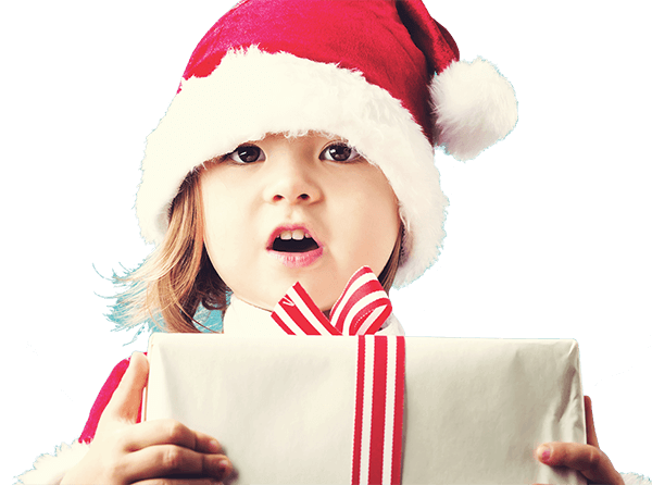 A girl wearing a Santa's hat and holding a brown paper wrapped package with a red and white striped bow. Blue background with white dots to look like snow.