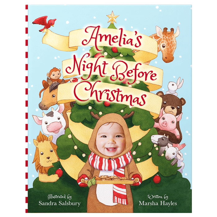Personalized Night Before Christmas book cover featuring a girl named Amelia dressed as a reindeer and holding a tray of treats for Santa. Behind her is a festive tree and various animals peeking out.