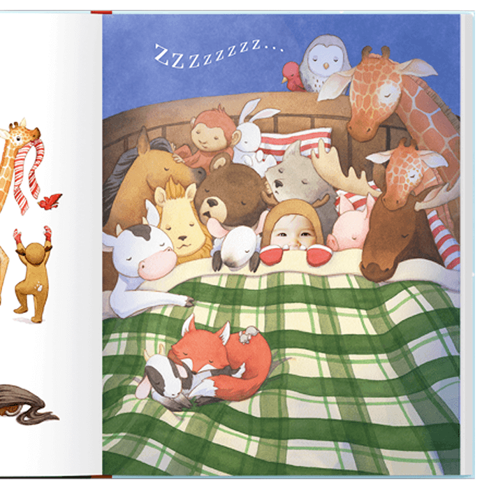 Sample page from Night Before Christmas personalized book, with main character in bed dressed up as a reindeer with her animal friends surrounding her.