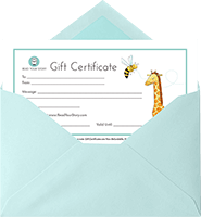 A Read Your Story gift certificate which is partially inserted in a light blue envelope