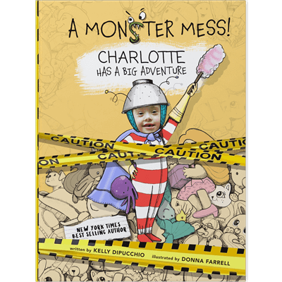 Make your own book for kids: a personalized ABC book cover featuring child named Charlotte and her face inserted into an illustration of a child with red and white striped pajamas, holding a dustbuster and wearing a makeshift helmet and cape.