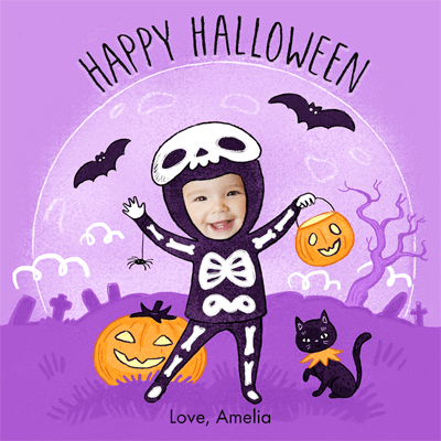 """Personalized Halloween eCard, featuring a child named Amelia dressed in a skeleton suit against a purple background with pumpkins, bats and a black cat. The card reads """"Happy Halloween."""" The card is illustrated except for Amelia's face which is a cropped photo of her face"""