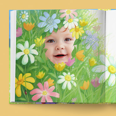 Illustration of colorful flowers and grasses with child's face peeking through