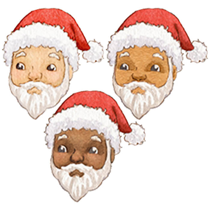 Three Santa Claus characters with varying skin tones are depicted to show the customer that they can personalize their Santa.