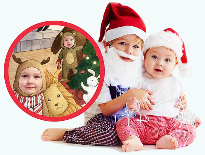 Two brothers are dressed with Santa hats, with the older boy embracing his younger brother. Inset is an image of how they would appear on the sibling page of Night Before Christmas, where both are dressed as reindeer with the older in the forefront and the younger in the background standing next to a decorated Christmas tree inside the house.