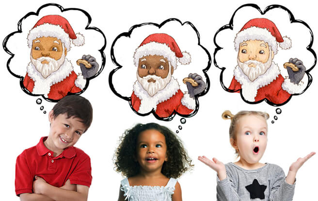 Three different children (Latino, African American, Caucasian) standing next to each other with illustrated bubbles over each child's head. Inside the illustrated bubbles are illustrations of Santa Claus, each with a different skin tone to reflect the customization available in Night Before Christmas.