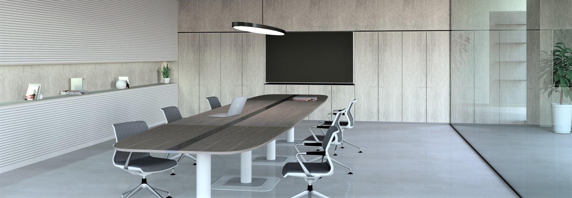 La linea del tavolo riunioni e conferenza permette di creare un tavolo con forme e dimensioni personalizzabili.