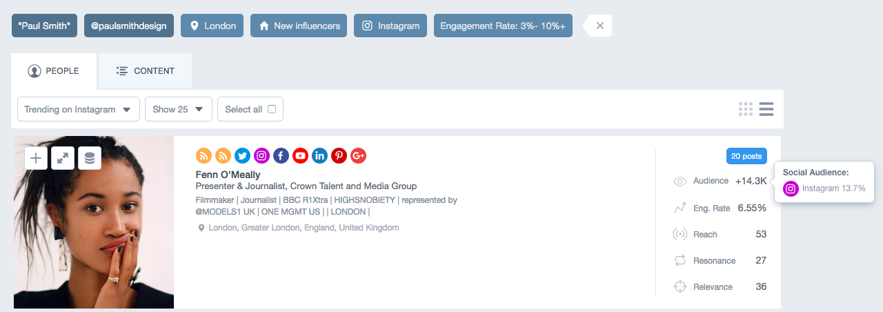 rapport de recherche de nouveaux influenceurs par Trending Status sur Traackr