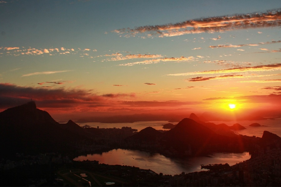 Stunning view of the Christ of Redeemer and Rodrigo de Freitas Lagoon from the top of Dois Irmãos Mountain