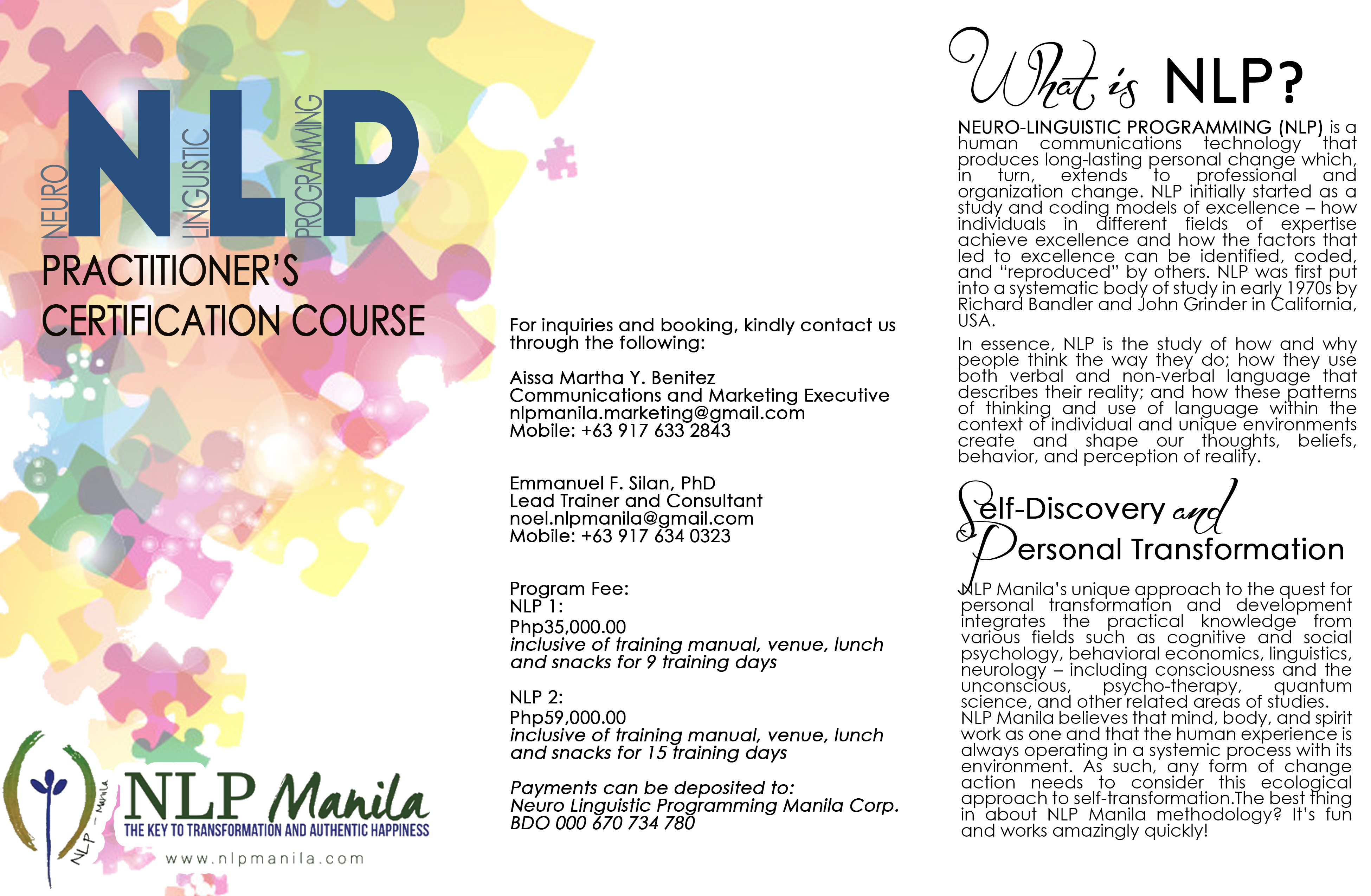 Nlp 1 The Foundations Of Communication And Change An Intensive 9
