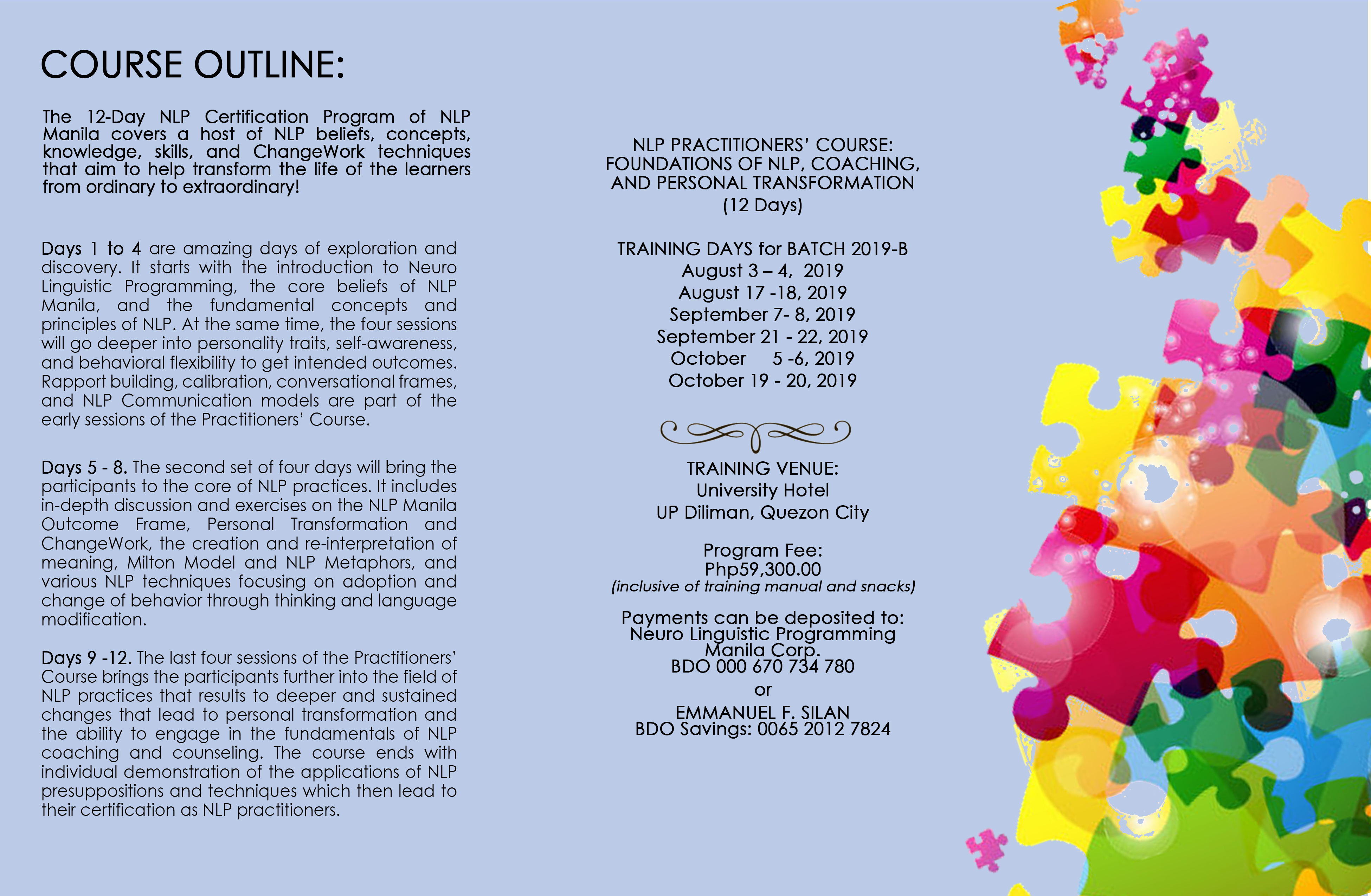 NLP PRACTITIONER'S CERTIFICATION COURSE: August to October 2019