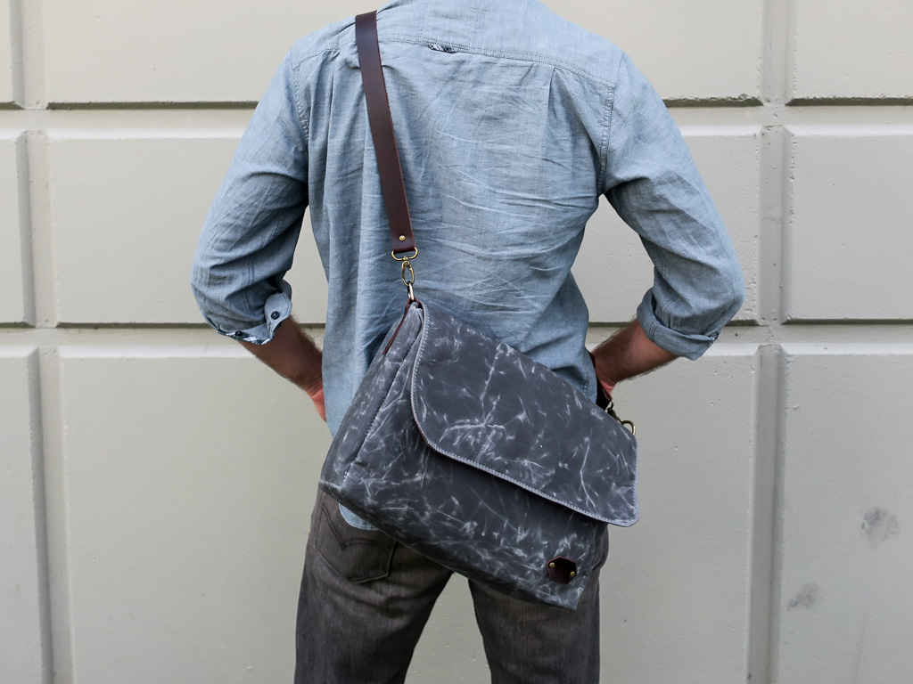 Uphill Designs - Appalachian waxed canvas messenger bag - charcoal grey - worn