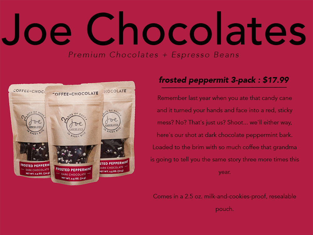 PNW gift guide Joe Chocolates peppermint bark