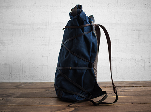 Uphill Designs - waxed canvas Divide rucksack - navy - side