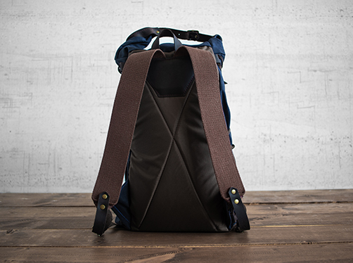 Uphill Designs - waxed canvas Divide rucksack - navy - back