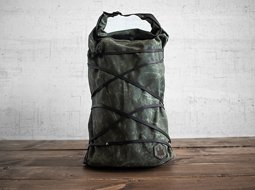Uphill Designs - waxed canvas Divide rucksack - olive - front