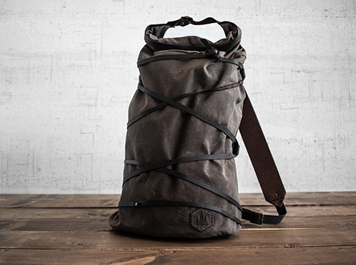 Uphill Designs - waxed canvas Divide rucksack - carob - front - tilted