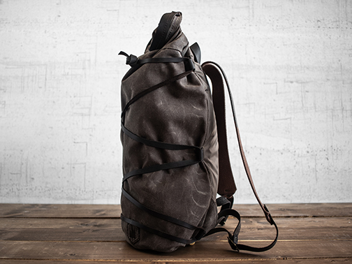 Uphill Designs - waxed canvas Divide rucksack - carob - side