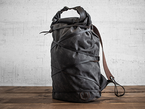 Uphill Designs - waxed canvas Divide rucksack - oak - front - tilted