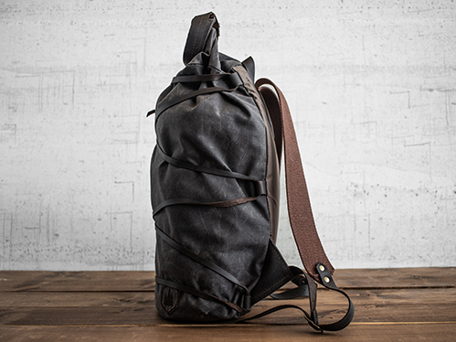 Uphill Designs - waxed canvas Divide rucksack - oak - side