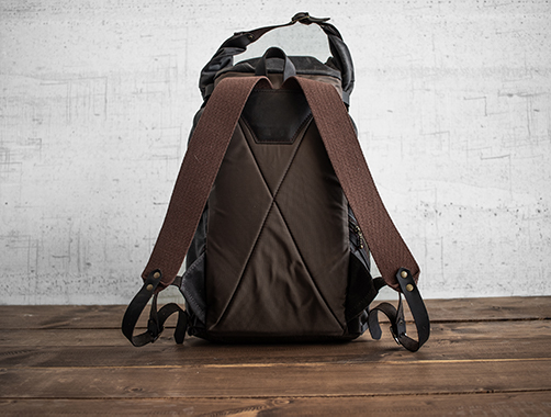 Uphill Designs - waxed canvas Divide rucksack - oak - back