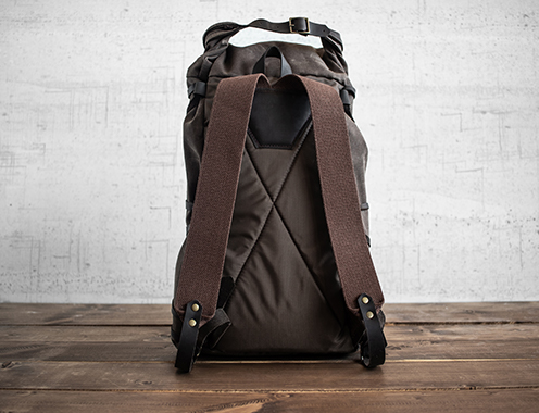 Uphill Designs - waxed canvas Divide rucksack - carob - back