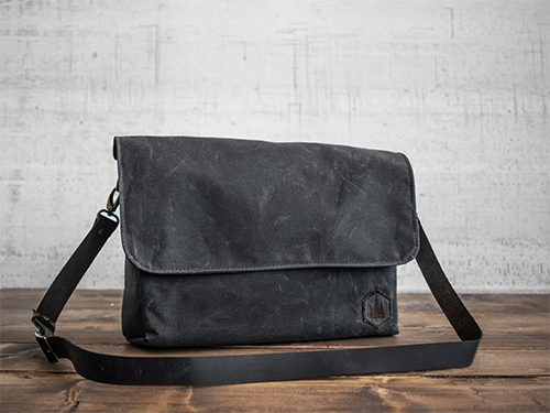 Uphill Designs - waxed canvas Appalachian messenger bag - oak - front