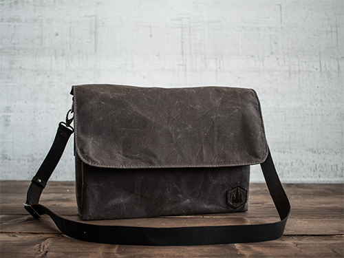 Uphill Designs - Appalachian waxed canvas messenger bag - carob brown - front