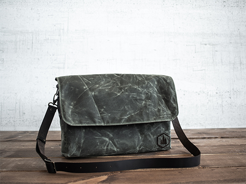 Uphill Designs - Appalachian waxed canvas messenger bag - olive green - front