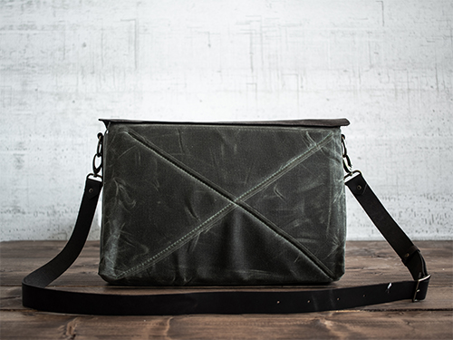 Uphill Designs - waxed canvas and leather appalachian messenger bag - olive - back