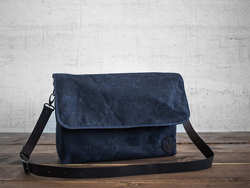 Uphill Designs - waxed canvas Appalachian messenger bag - navy - front
