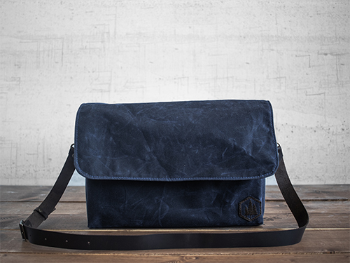 Uphill Designs - waxed canvas Appalachian messenger bag - navy - side