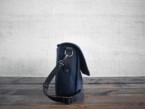 Uphill Designs - waxed canvas Appalachian messenger bag - navy - back